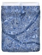 Pittsburgh Map Blue Duvet Cover