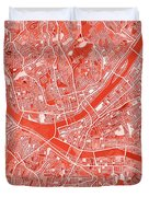 Pittsburgh Map Red Duvet Cover