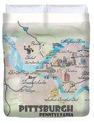 Pittsburgh Pennsylvania Fine Art Print Retro Vintage Map With Touristic Highlights Duvet Cover