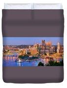 Pittsburgh Pennsylvania Skyline At Dusk Sunset Panorama Duvet Cover