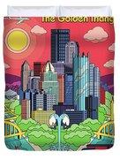 Pittsburgh Poster - Pop Art - Travel Duvet Cover