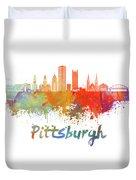 Pittsburgh V2 Skyline In Watercolor Duvet Cover