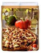 Pizza At Restaurant  Duvet Cover