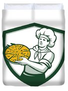Pizza Chef Holding Pizza Shield Retro Duvet Cover