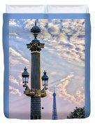 Place De La Concorde View Eiffeltower Duvet Cover