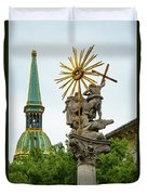 Plague Column And Saint Martin Cathedral Duvet Cover
