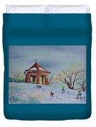 Plaisirs D'hiver Au Parc Macdonald Gardens Duvet Cover