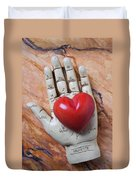 Plam Reader Hand Holding Red Stone Heart Duvet Cover by Garry Gay