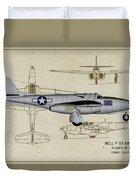 Planes Of Fame A-59 Airacomet - Profile Duvet Cover
