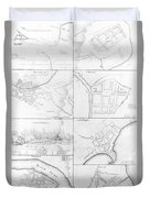 Plans Of The Principle Towers, Forts And Harbors In Ireland  Duvet Cover