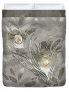 Platinum Feathers, Peacock Feathers Home Fashion Duvet Cover