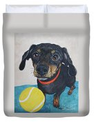 Playful Dachshund Duvet Cover by Megan Cohen