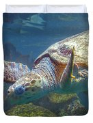 Playful Green Sea Turtle Duvet Cover