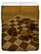 Playing Checkers On A Rug Duvet Cover
