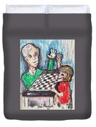 Playing Checkers Duvet Cover