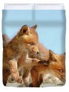 Playing Fox Kits Duvet Cover