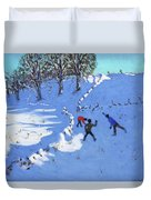 Playing In The Snow Youlgrave, Derbyshire Duvet Cover
