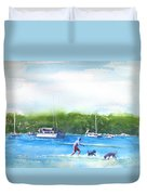 Playing With The Dogs At Rose Bay Duvet Cover