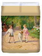 Playing With The Hoop Duvet Cover by Victor Gabriel Gilbert