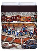 Playoff Time At The Local Hockey Rink Montreal Winter Scenes Paintings Best Canadian Art C Spandau Duvet Cover
