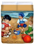 Playtime At The Beach Duvet Cover
