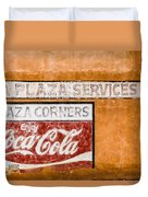 Plaza Corner Coca Cola Sign Duvet Cover