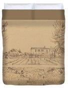 Ploughman In The Fields Near Arles 1888 Duvet Cover