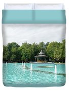 Plovdiv Singing Fountains - Bright Aquamarine Water Dancing Jets And Music Duvet Cover