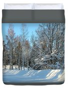 Plowed Winter Street In Sunlight Duvet Cover