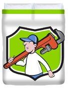 Plumber Holding Monkey Wrench Crest Cartoon Duvet Cover
