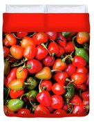 Plump Red Peppers Photo Stock Duvet Cover