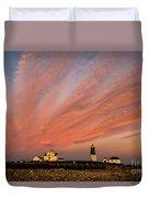 Point Judith Lighthouse Sunset Duvet Cover