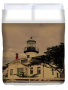 Point Pinos Lighthouse Antiqued Duvet Cover