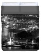 Point State Park In Black And White Duvet Cover