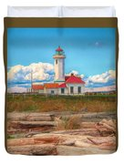 Point Wilson Lighthouse And Driftwood Duvet Cover