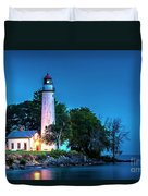 Pointe Aux Barques Lighthouse At Dawn Duvet Cover