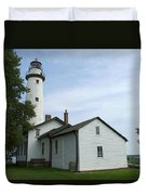 Pointe Aux Barques Lighthouse Duvet Cover