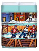 Outdoor Hockey Rink Painting  Devils Vs Rangers Sticks And Jerseys Row House In Winter C Spandau Duvet Cover