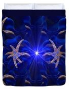Pointelist Abstract In Blue Catus 1 No. 1 H B Duvet Cover