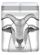 Farm Goat In Pointillism Duvet Cover