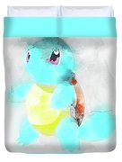 Pokemon Squirtle Abstract Portrait - By Diana Van Duvet Cover