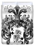 Poker King Spades Black And White Duvet Cover