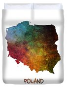 Poland Map Polska Map Duvet Cover