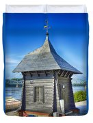 Poland, Torun, Shed On The River. Duvet Cover