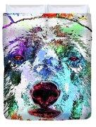 Polar Bear Colored Grunge Duvet Cover