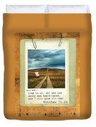 Polaroid On Weathered Wood With Bible Verse Duvet Cover