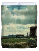 Polder Landscape With Windmill Near Aboude Duvet Cover
