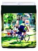 Police Officer Rides A Bicycle Duvet Cover