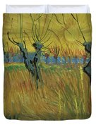 Pollarded Willows And Setting Sun Duvet Cover