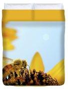 Pollen-coated Honey Bee On A Sunflower Duvet Cover